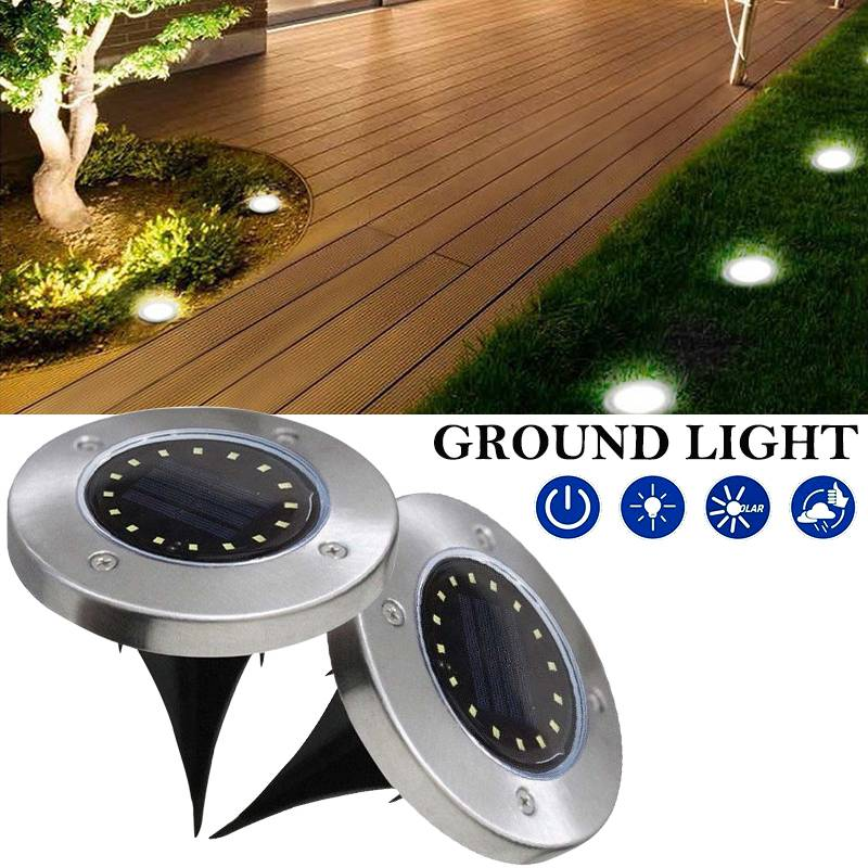 16LED Solar Ground Lamp Buried Light Waterproof Sensor Outdoor Path Way Garden Decking White