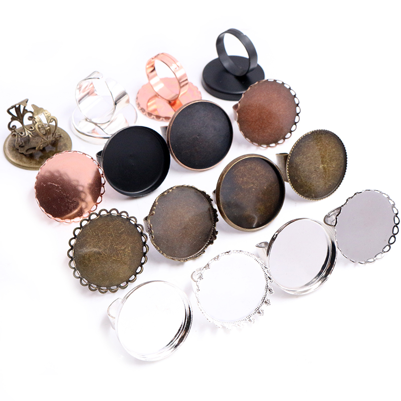 25mm 5pcs Bronze Black Silver Plated Mixed Style Brass Adjustable Ring Settings Blank/Base,Fit 25mm Glass Cabochons