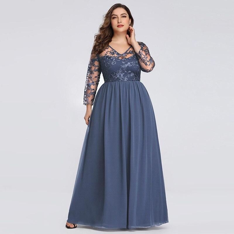 Dressv Plus Size Blue Elegant Evening Dress Long Sleeves Appliques Floor Length A Line Wedding Party Formal Evening Dresses