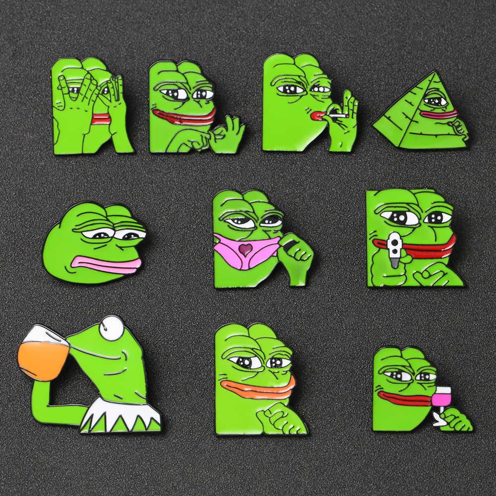 Ếch Pepe Cài Áo Nụ Cười Buồn Pepe Ếch Kermit Meme Men Huy Hiệu Văn Hóa Nhạc Pop Động Vật Hoạt Hình Tựa Trang Sức Bé Trai câu Lạc Bộ Bán Buôn