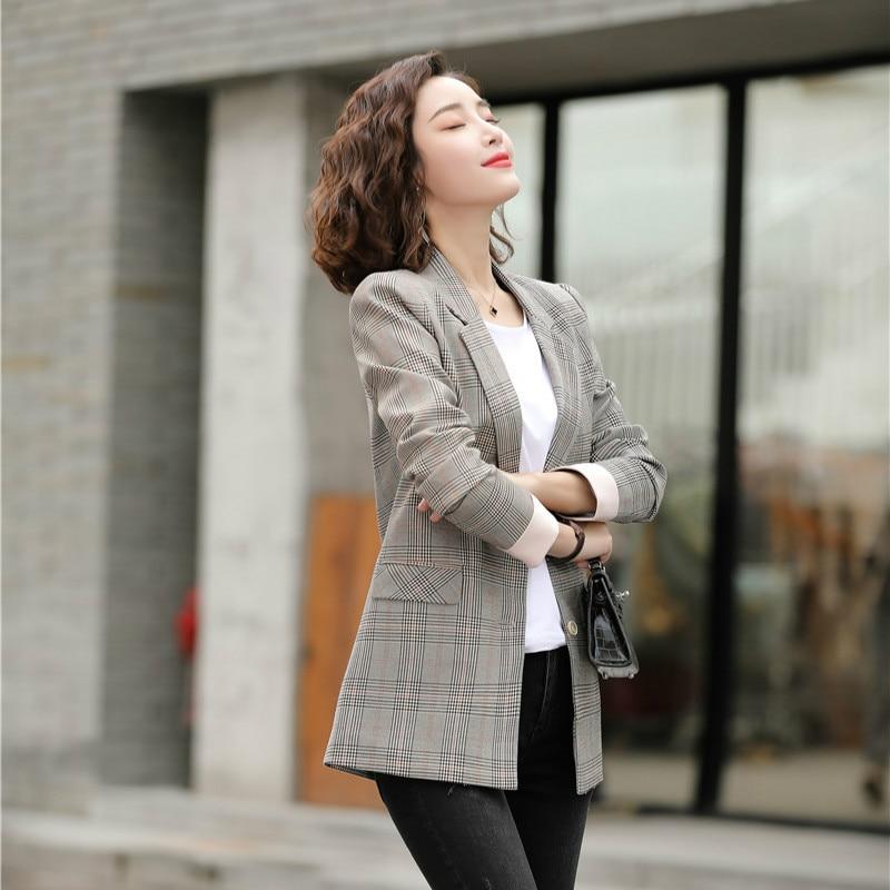 Spring Fashion Ladies Blazer Women Jackets Plaid Long Sleeve Business Clothes Female Elegant Formal Office Work Wear OL Styles