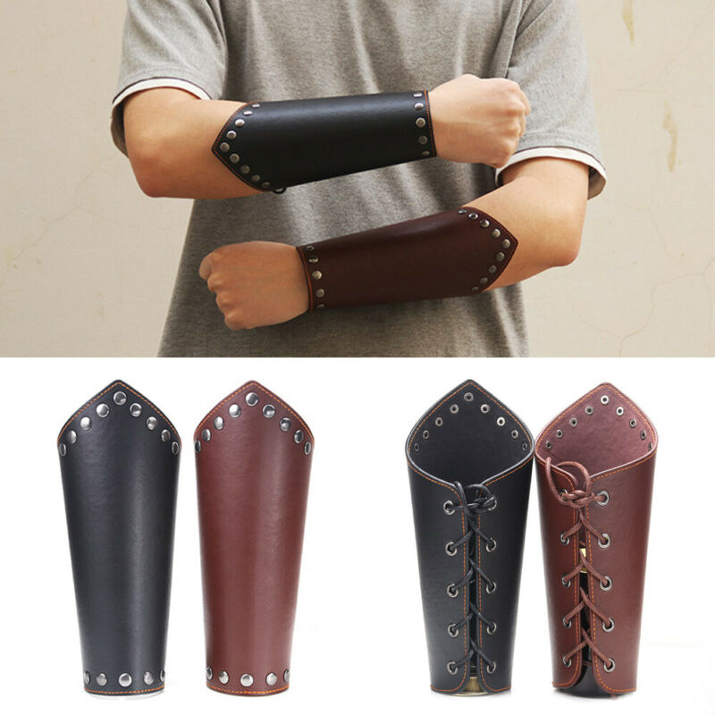 Men Faux Leather Arm Warmers Lace-Up Gauntlet Wristband Wide Bracer Protective Arm Armor Cuff Cross String Steampunk Cosplay