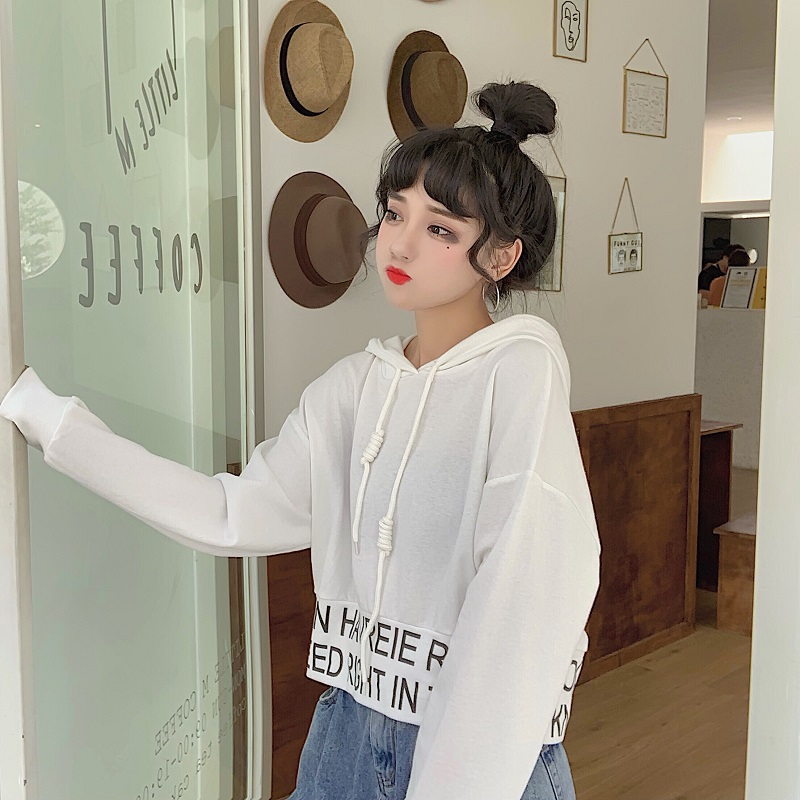 sweet hooded letter loose full Korean style Spring and autumn ladies tops Women's Clothing fashion brand high quality Hoodies 6