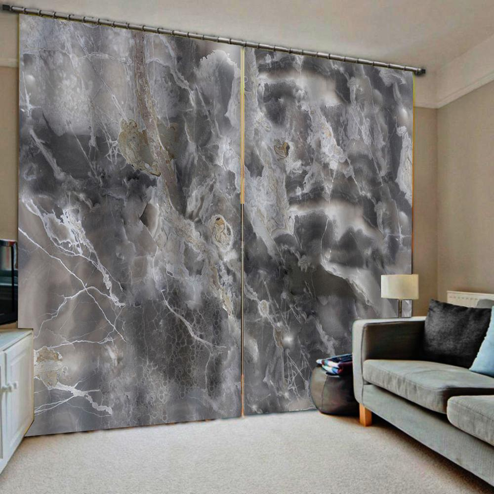 3D Marble Window Curtain Living Room Blackout Sheer Curtains For Bedroom Office Hotel Home Wall Decorative Drapes