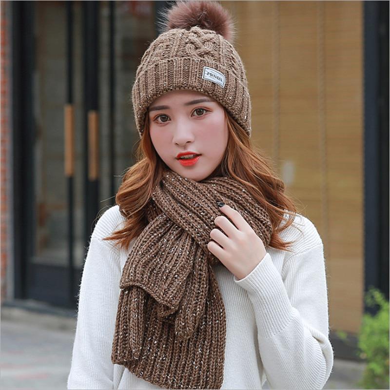 Tsuretobe Winter Fashion Knitted Hat Scarf Set Two Pieces Women Letter Warm Twist Wool Beanie Cap And Long Crochet Shawl Scarf