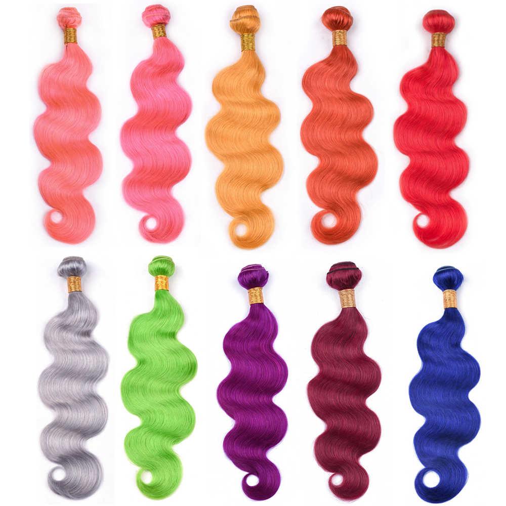 Pre Farbige #613 Blonde Menschliches Haar Bundles Körper Welle Remy Brasilianische Haarwebart Rot Rosa Orange Gelb Blau Grün Grau lila