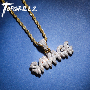 Image 1 - TOPGRILLZ Hip Hop Necklace Brass Gold Color Iced Out Chains Micro Pave Cubic Zircon SAVAGE Pendant Necklace Charm For Men Gifts