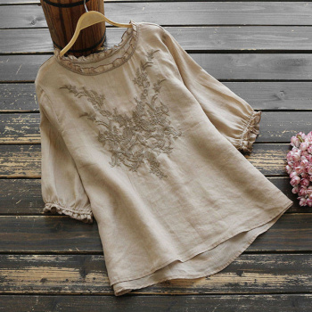100% Cotton Women Casual Blouses Shirts New 2020 Summer Fashion Half Sleeve Embroidery Female Loose Tops Shirts Plus Size P282 1