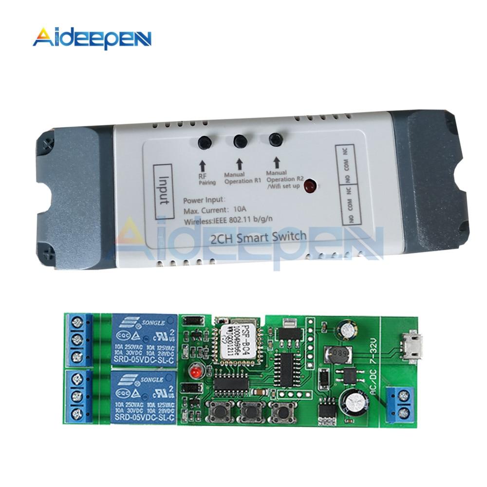 Умный Wifi релейный переключатель 2 канала реле Умный дом Wifi модуль DC 5 в 12 В 24 в 32 в 110 В 220 в беспроводной переключатель таймер пульт дистанционного управления Реле      АлиЭкспресс