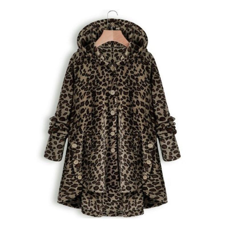 Leopard Women Jacket Faux Fur Coat Women Plus Size 5XL Button Furry Faux Fur Coats Long Loose Soft Faux Fur Coat Overcoat