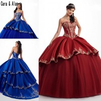 Royal Blue Quinceanera Dresses With Embroideried Sweetheart Satin Burgundy Ball Gown Prom Party Wear Sweet 16 dress