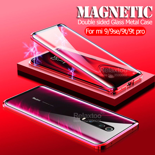 Magnetic case For xiaomi mi 9t double sided tempered glass cover xiomi xaomi mi 9 9se mi9 t mi9t pro Metal 360 protective coque image