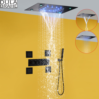 Waterfall Thermostatic LED Rain Shower System 14 X 20 Inch Rectangle Luxury Ceil Mounted Shower Head Bathroom Mixer Faucet Set