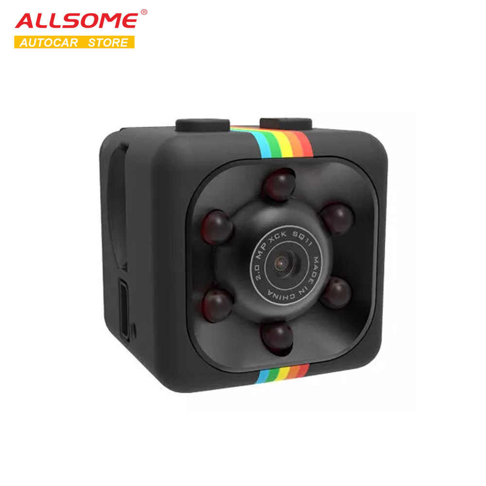 ALLSOME SQ11 1080P Mini visión nocturna DV Auto grabadora de vídeo Vlog Cámara deportiva soporte TV Out Monitor MA0035
