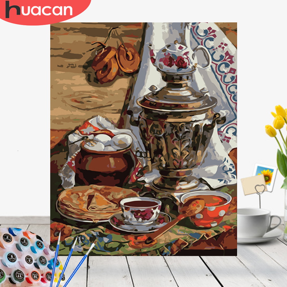 HUACAN Oil Painting By Number Food HandPainted Kits Drawing Canvas DIY Pictures Home Decoration Art Gift