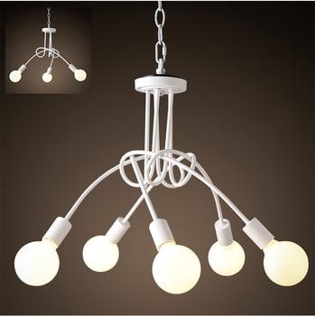 Mordern Nordic Retro White/black Matte Painting Light Chandelier Vintage Loft E27 Luminaire Lamparas Ceiling Lamp Fixture Light