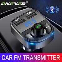 Onever Aux Modulador Transmisor FM Bluetooth Manos Libres Para Automóvil Kit de Coche Reproductor de Audio MP3 con Carga Rápida 3.1A Dual USB Car cargador