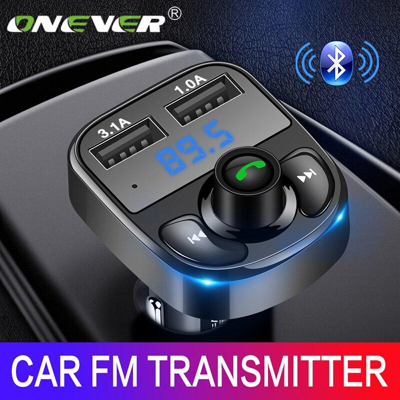 Onever fm transmissor aux modulador bluetooth kit carro handsfree áudio mp3 player com 3.1a carga rápida dupla usb carregador de carro