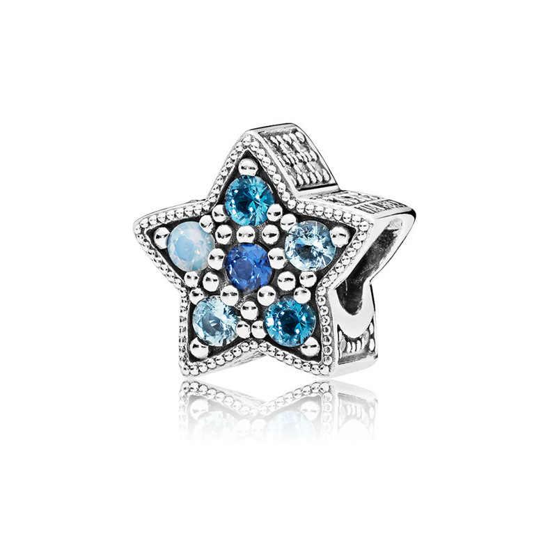 GChicSilver ชุบ Starry Fairy Tale ชุดสร้อยข้อมือเกล็ดหิมะสีฟ้าเคลือบสี Dream Catcher Charm สำหรับสร้อยข้อมือ PANDORA ของขวัญ
