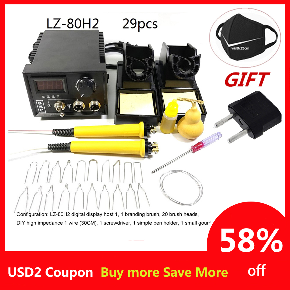 60W AC 220V Digital Display Wood Burning Soldering Irons Crafts Tools Pyrography Pen Machine Kit Set With EU Adapter Soldering