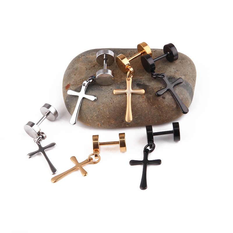 Pendientes de aro de crucifijo de moda 2019 para mujer, pendientes de plata y oro negro de acero de titanio fresco para hombres