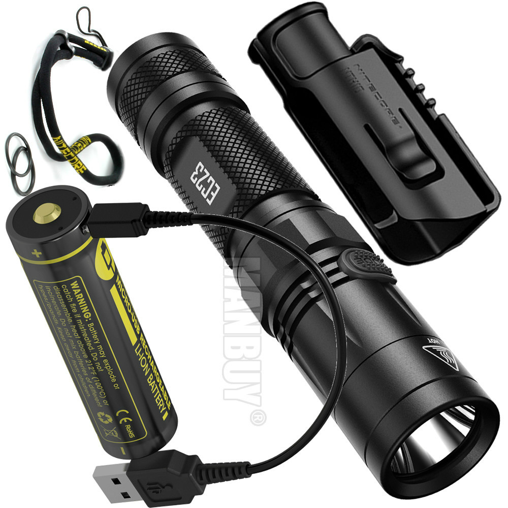 2020 NITECORE EC23 1800 LMs <font><b>Flashlight</b></font> <font><b>18650</b></font> USB Port Rechargeable Battery NTH10 Holster LED Torch outdoor camping Security Duty image