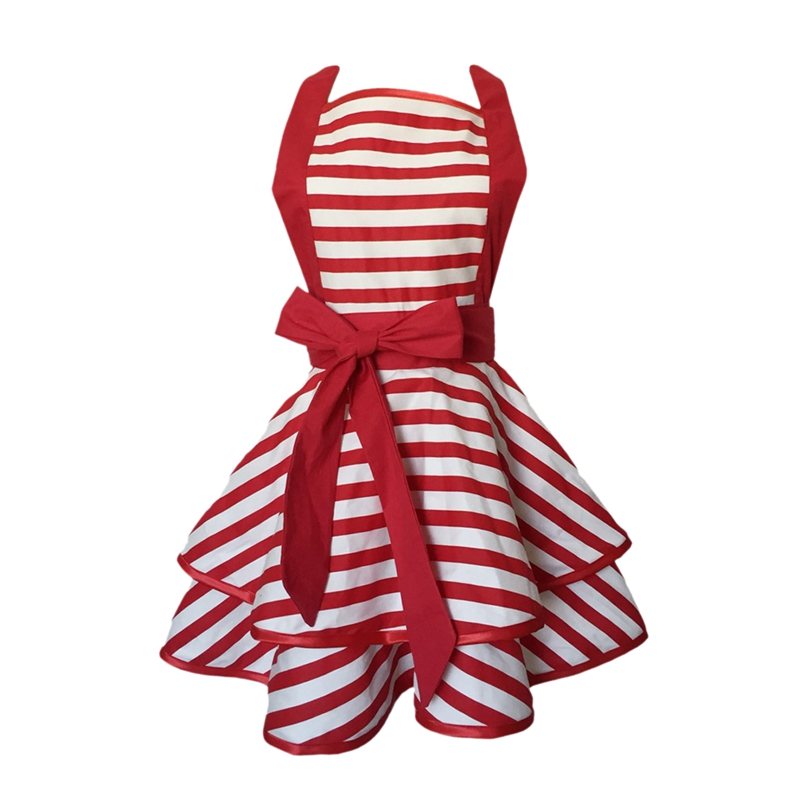 Style Vintage Retro Red Striped Double Layer Cooking Apron for Women Woman Girl BBQ Aprons     - title=