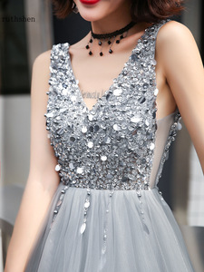 Image 5 - Gray Prom Dresses Long Vestidos De Gala Sequins Beaded Abiye Gece Elbisesi Backless Women Formal Party Dress Evening Gown 2019