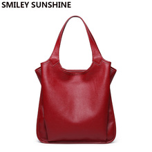Soft Cow Leather Bags Ladies Genuine Leather Shoulder Bag Women #8217 s Genuine Leather Handbag Winter Female Tote Bags Big Hand Bags cheap SMILEY SUNSHINE Bucket Shoulder Bags Shoulder Handbags zipper NONE Casual H1810B5 Polyester Versatile Solid Interior Slot Pocket