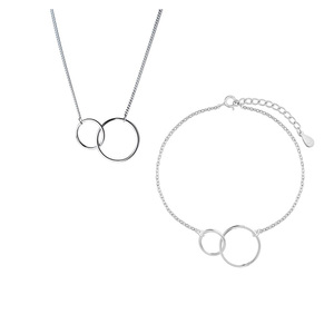 ANENJERY Minimalist 925 Stamp Silver Color Double Circle Necklace+Bracelet Jewelry Sets For Women Sister Jewelry