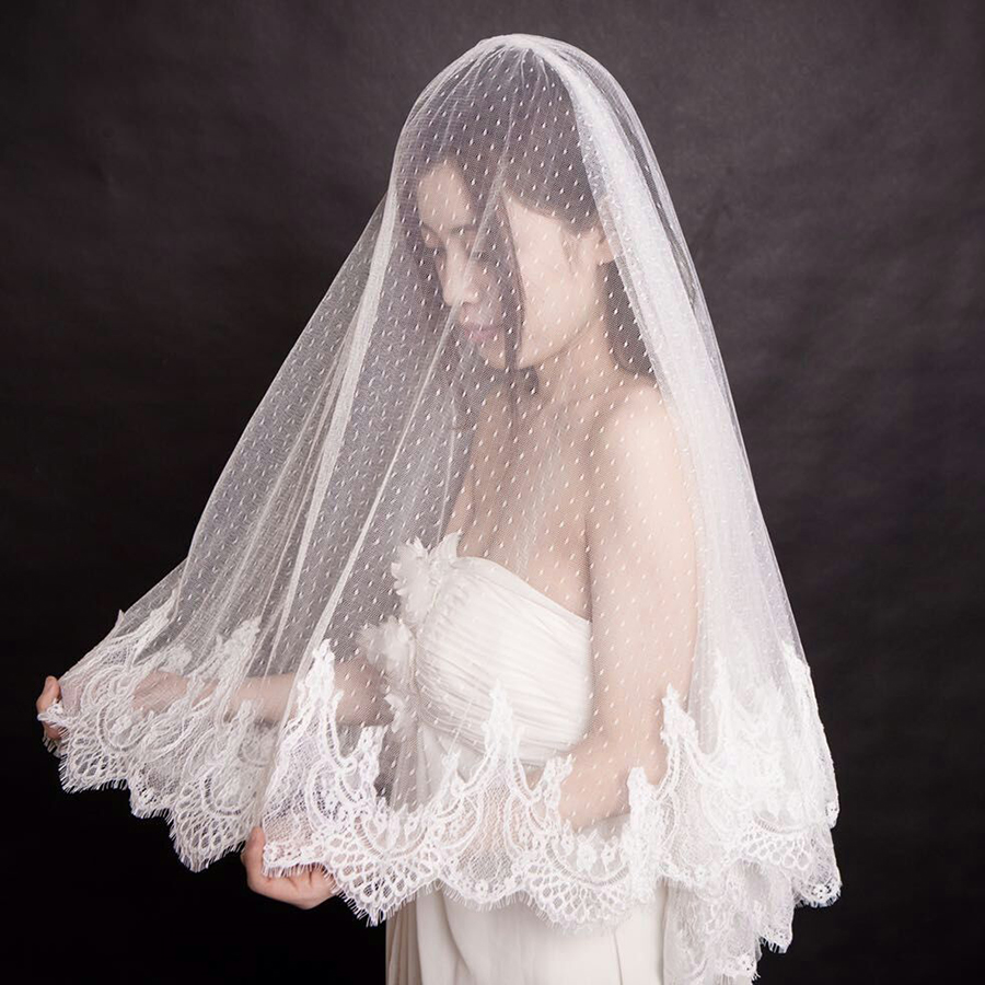 Elegant Wedding Lace Veils New Arrival Soft Tulle Short Bridal Velo De Novia High Quality Wedding Dress Accessories With Comb