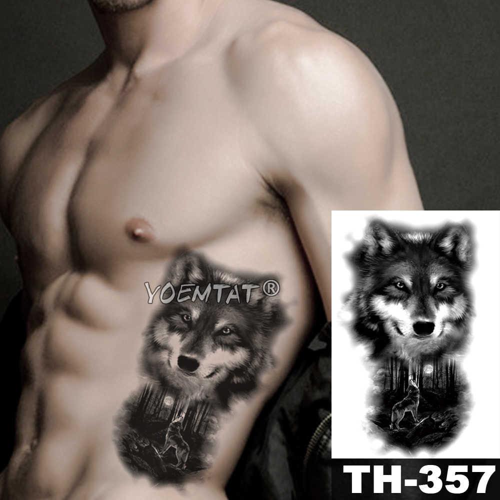 Tatuaje temporal de León, Cráneo, Tigre, León, lobo, tatuaje a prueba de agua, Guerrero, soldado, arte corporal, brazo, Tatuaje falso, hombres y mujeres