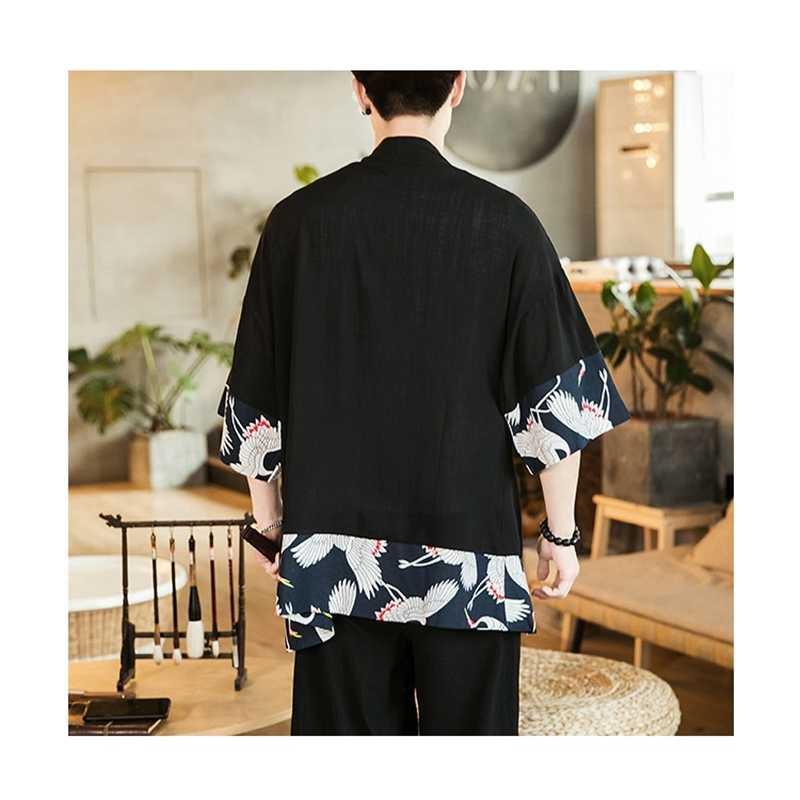 Kimono japonés cardigan hombre haori yukata ropa de samurái blusa kimono chaqueta kimono para hombre camisa yukata haori FZ2011
