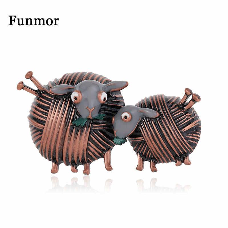 Funmor Vintage Bola Benang Domba Bros Hewan Lucu Pin Enamel Perhiasan untuk Wanita Anak Perempuan Setiap Hari Pesta Dekorasi Aksesoris Hadiah
