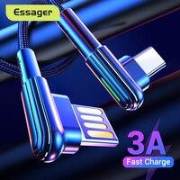 Cable de carga rápida de tipo C esmager USB 3A Cable de USB-C de 90 grados para Samsung Xiaomi Redmi Note 7 8 Cable de datos de tipo C