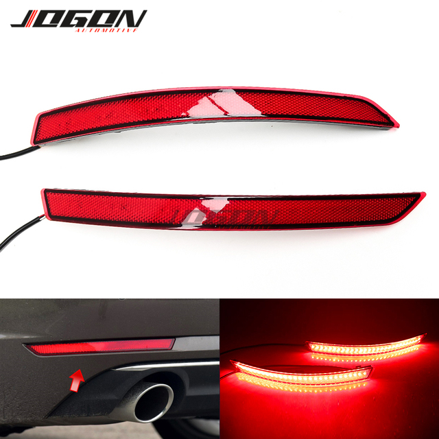For AUDI A4 B9 8W 2017 2018 2019 2020 LED Red Lens Rear Bumper Reflector Brake Parking Lights Brake Sequential Lamp