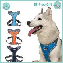 Coleira reflexiva para cachorro, coleira peitoral ajustável reflexiva para cães, malha respirável, para cães de médio e grande porte, husky, alasca, acessórios para animais de estimação
