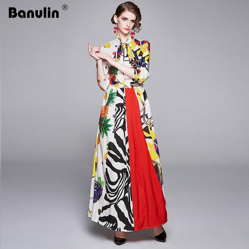 Banulin 2019 модное подиумное длинное платье макси с длинным рукавом, женское длинное платье с отложным воротником и цветочным принтом, празднич