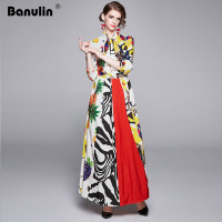 Banulin 2019 Fashion Runway Long Sleeve Maxi Dresses Women's Turn Down Neck Sweet Fruit Floral Print Long Dress Holiday Dresses