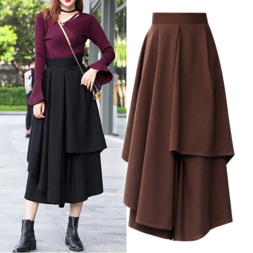 Autumn And Winter New Style WOMEN'S Dress Woolen Skirt Irregular Long Skirts High-waisted Thick Big Skirt Mid-length Culottes