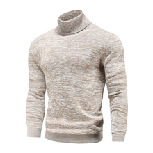 New Winter Men's Turtleneck Sweaters Cotton Slim Knitted Pullovers Men Solid Color Casual Sweaters Male Autumn Knitwear