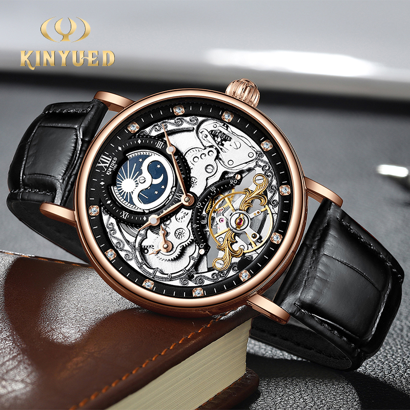 KINYUED Moon Phases Man Watches Automatic Mechanical Watch Luminous Transparent Wristwatch Mechanic Mens Relojes Hombre New 2020
