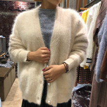 Women Angora Cardigans Sweater Autumn Winter Wool Knitted Jumper Coat Long Sleeves V-Neck suit style Pearl buckle wsr777(China)