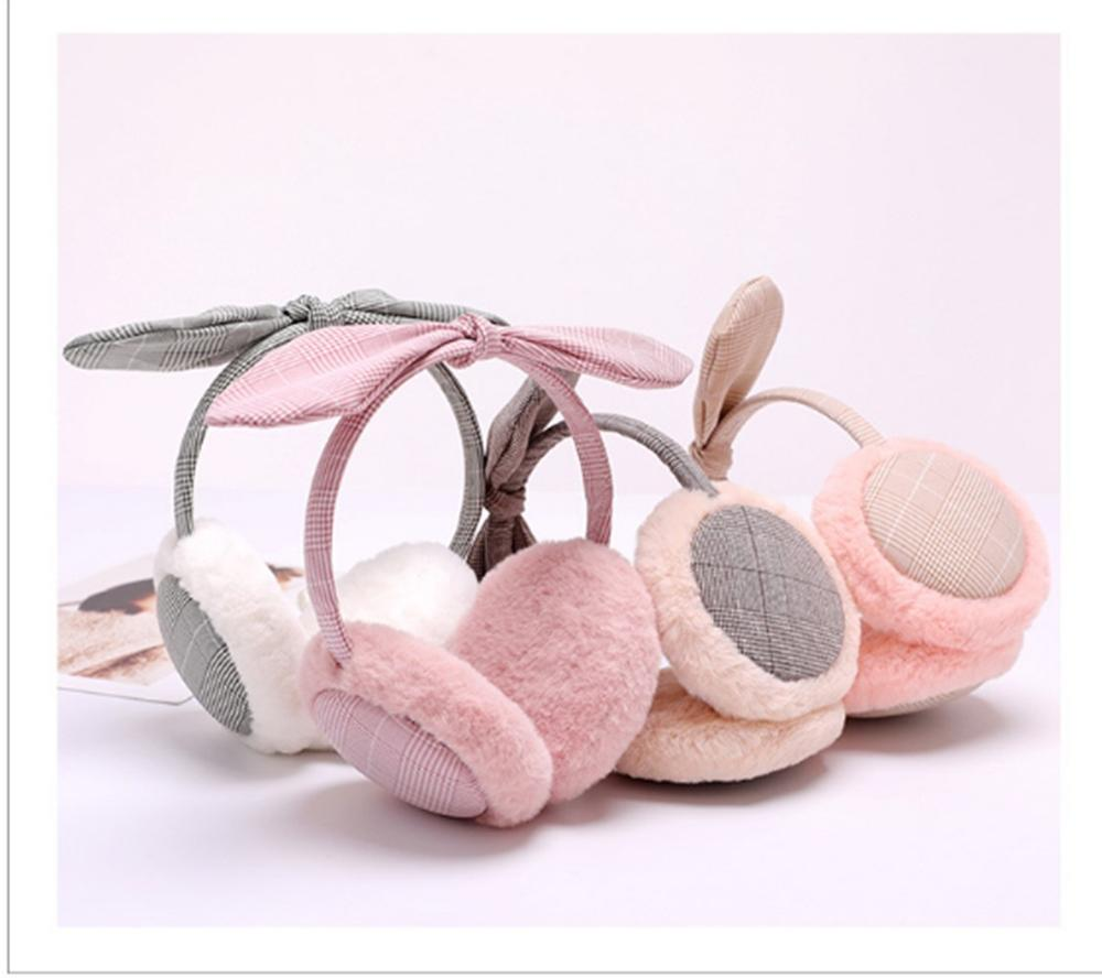New 2019 Fashion Korean Ladies Earmuffs Plaid Bow Warm Earmuffs Women Girl Plush Winter Ear Warmer Earmuffs Comfortable
