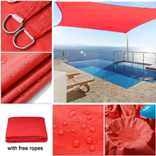 300D 160GSM Bright Red Polyester Oxford Fabric Square Rectangle all size Shade Sail Swimming Pool Cover Tent Waterproof