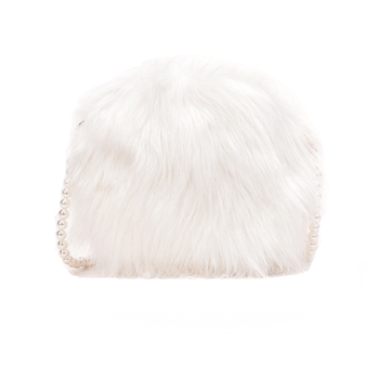 White shoulder bag fashion faux fur handbag soft and comfortable suede handbag round autumn and winter hot mini pearl chain bag 6