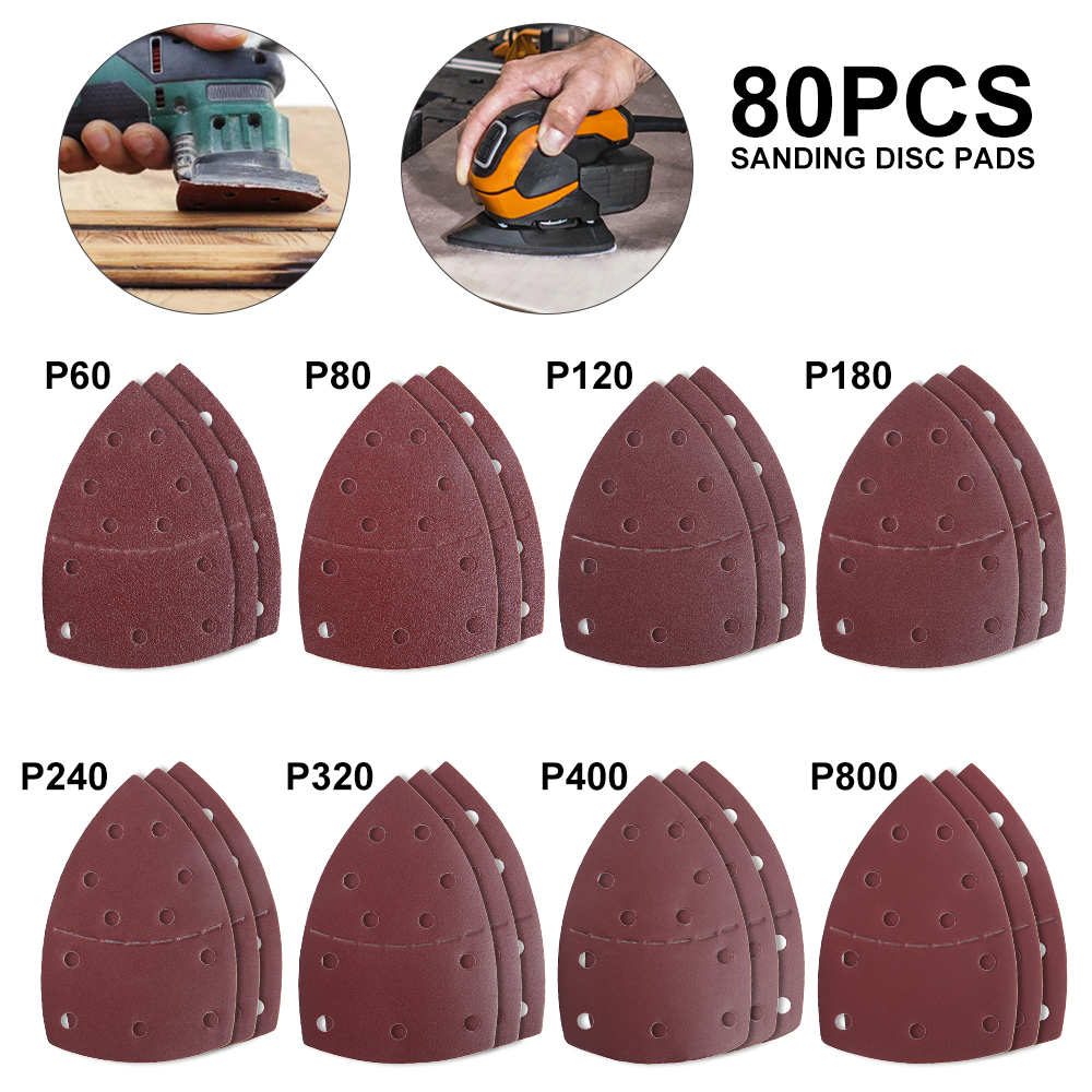80pcs Sanding Sheets 11 Holes Aluminium Oxide 60 80 120 180 240 320 400 800 Grit Sandpaper Mix Sanding Paper Grinding Kit