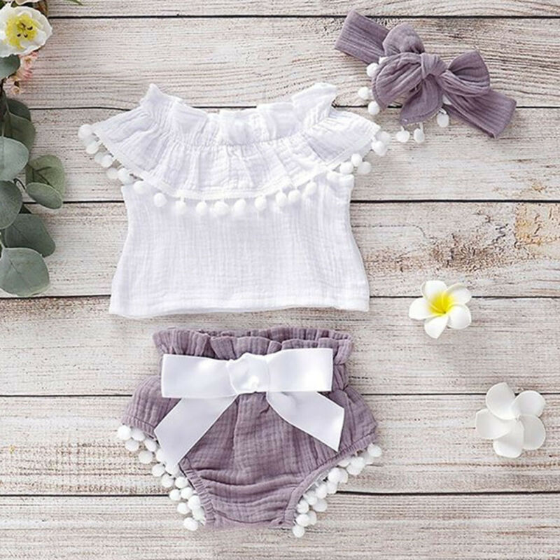 Pudcoco 2020 Newborn Infant Baby Girls Clothes Ruffle Tops Shirt Shorts Summer Outfit Set