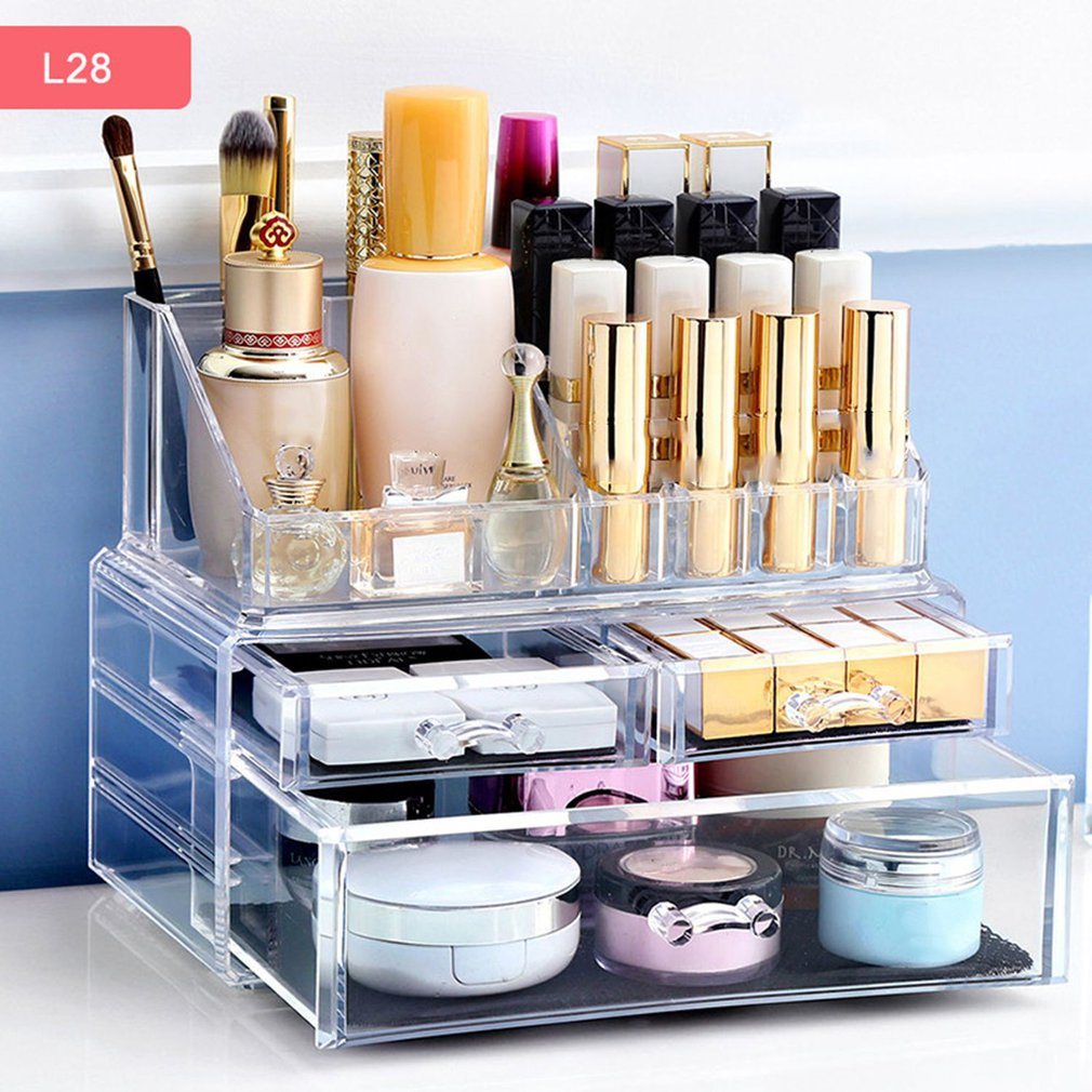 Transparent Acrylic Makeup Organizer Storage Box Lipstick Storage Holder Make Up Tool Holder Drawers Jewerly Storage Box