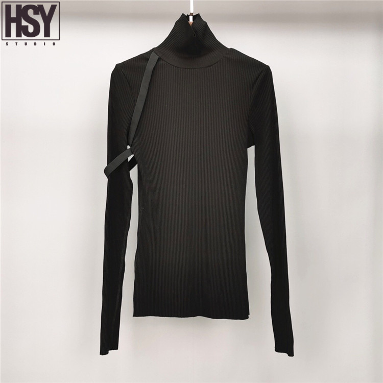 【HSY】2019 Autumn Winter New Women Elastic Design Long Sleeve High-neck Pullover Sweater Cotton Black Stretch Knit Bottoming Shir